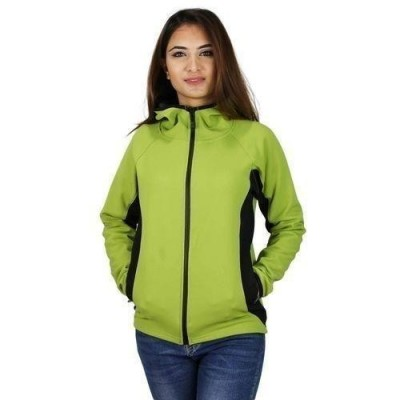 Green/Black Bonded Fleece Light Jacket With Hood For Women