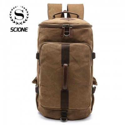 Migrator Large Capacity Cylinder Backpacks Canvas Luggage Shoulder Bags Duffle Travel Waterproof Solid Leather Casual Case