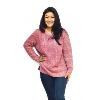 Pink Textured Sweater For Women