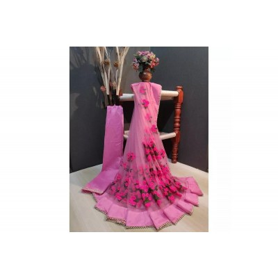 Light Pink soft Net Floral Embroidered Saree With Unstitched Blouse For Women