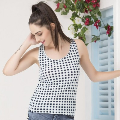 Cotton Checked Tank Top with Racerback For Women