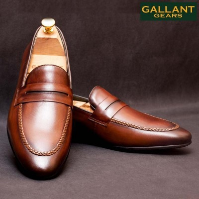 Gallant Gears Wine Red Slip on Formal Leather Shoes For Men