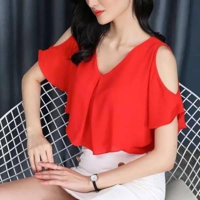 Women Loose Half ButterFly Cut Sleeve V - Neck Chiffon T-shirt - Red