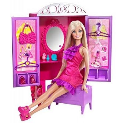 Barbie Multi-color Doll Set With Closet Set
