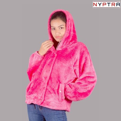 Purple Solid Fur Pullover Hoodie Jacket For Women By Nyptra