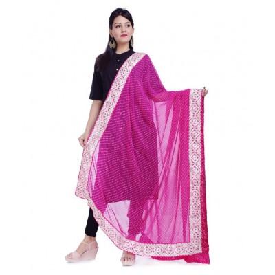 Pink Georgette Leheriya Dupatta For Women