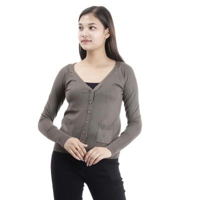 V Cut Woolen Sweater For Women