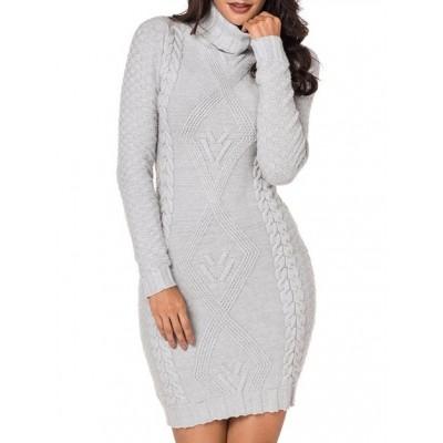 Women's Casual Turtleneck Sweater Bodycone Dress