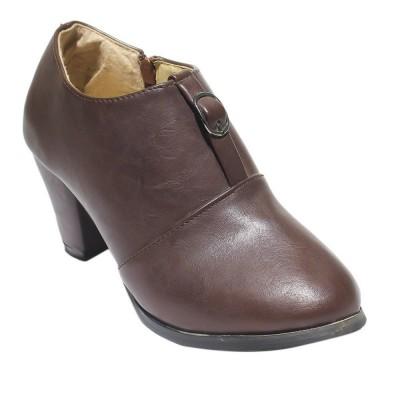 Plain Zippered Heeled Boots For Women