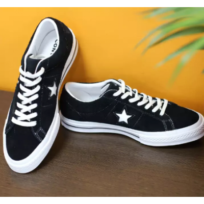 Converse One Star Premium Suede Black Skate Shoes for Men 158369C