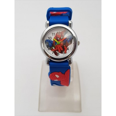 Spiderman Soft Strap Analog Watch with Sticker Book For Kids