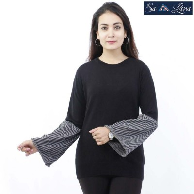 Solid Flared Sleeves Round Neck Sweater For Women (LL-1822)