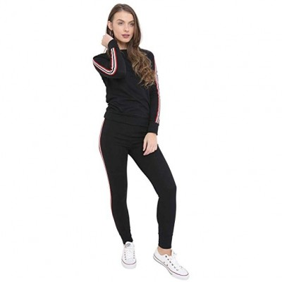 Shocknshop Multi Side Stripes Tracksuit Long Sleeve Top And Jogger Pants Ladies Loungewear Set for womens