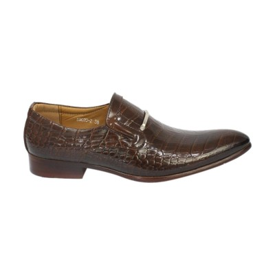 Brown Solid Slip-On Formal Party Shoes For Men