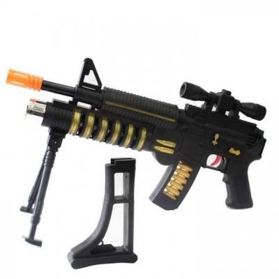 Black/Orange Super Ak47 Air Sport Foldable Gun For Kids- 206