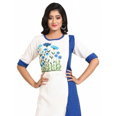 Women's Linen Embroidered Kurti