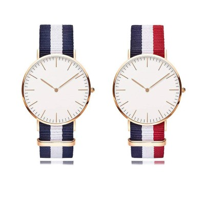 Analogue White Plated Dial England Strip Style Belt Couple Watch Set