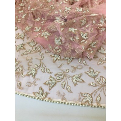 Light Pink Net Stone And Pearl Embroidered Dupatta For Women