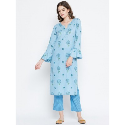 Blue Floral Printed Kurta with Palazzo Set For Women By Prakhya
