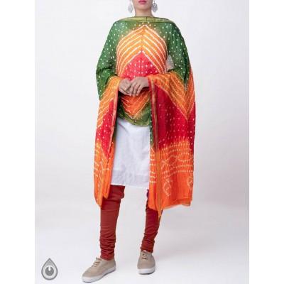 Multi Color Silk Tie And Dye Badhni Dupatta For Women