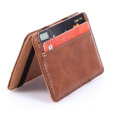 Magic Wallet Slim Credit Card Holder Case Leather Sleeve with ID Window Brown