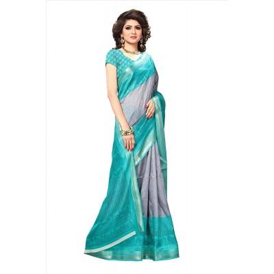 Light Blue Beautiful Printed Saree
