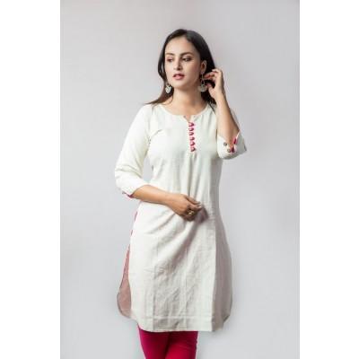 Off-White Linen Ethnic Kurti For Women