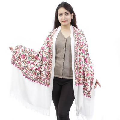White Floral Embroidered Shawl For Women