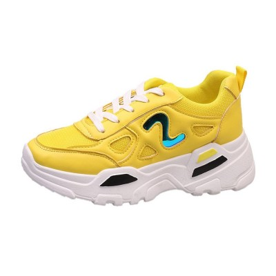 Yellow Thick Sole Sneakers For Women