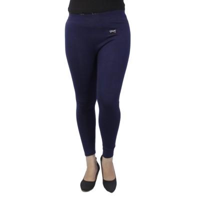 Navy Blue Solid Inner Fleece Jeggings For Women