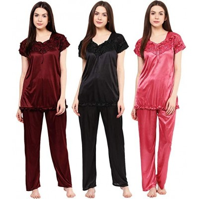 Phalin Women's Satin Night Suits Set Multicolour, Free Size