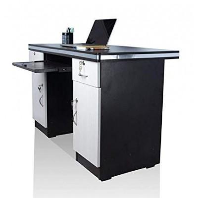 Asha Furniture Office Desk with Drawers & Storage, White & Black