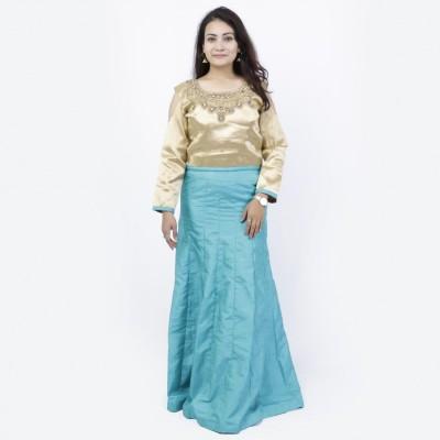 Sky Blue/Golden Embellished Floral Lehenga Choli Set For Women
