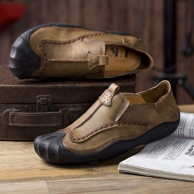 Fashion Men Genuine Leather Hand Stitching Slip On Soft Outdoor Casual Flats Loafers Shoes