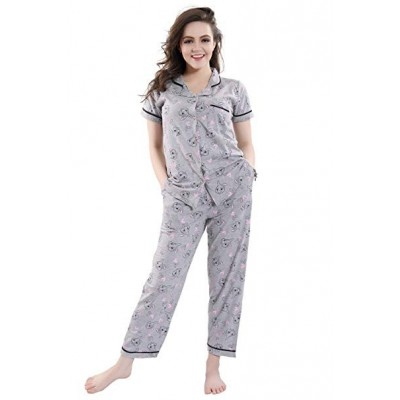 PIU Printed Cotton Night Suit Printed Half Sleeves Night Suit Soft and Easy with Drawstring Elastic Waist