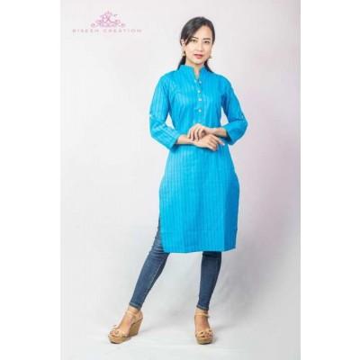 Sky Blue Slub Cotton Striped Kurti For Women - BC 867