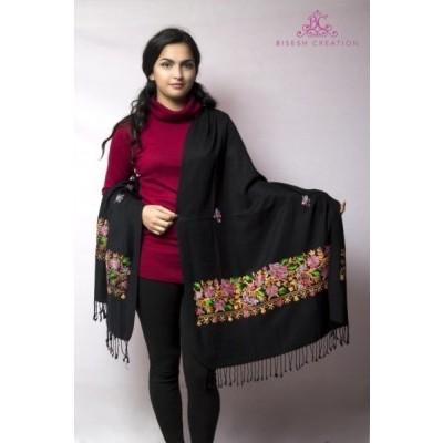 Black Kashmiri Embroidered Acrylic Pashmina Shawl For Women