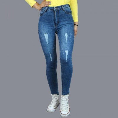 Blue High Rise Stretchable Jeans For Women By Nyptra