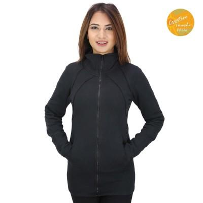 Black Zippered Inner Fleece Jacket For Women