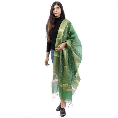 Green Raw Silk Printed Shawl For Women