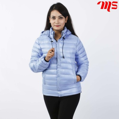 Sky Blue Silicon Down Jacket For Women
