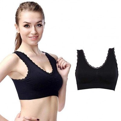 Women Sports Bra Seamless Spandex Workout Bra Fitness Yoga Lace Wire Free Solid Padded Fitness Wear Sports Top