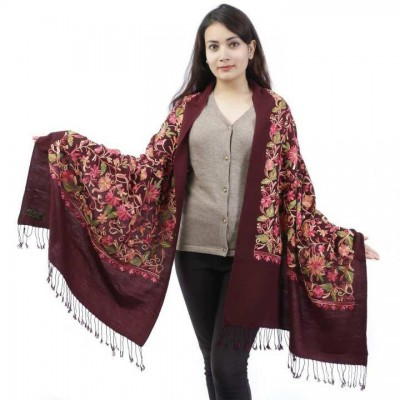 Red Floral Embroidered Shawl For Women