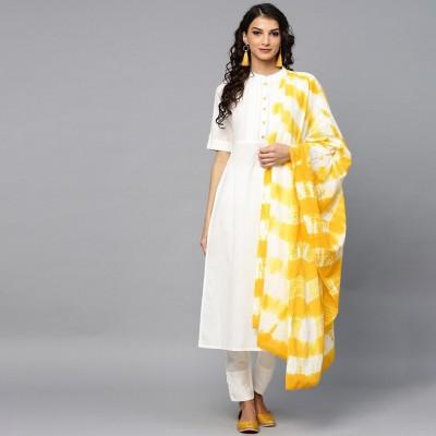 Aks Women's White & Yellow Solid Kurta with Trousers & Dupatta