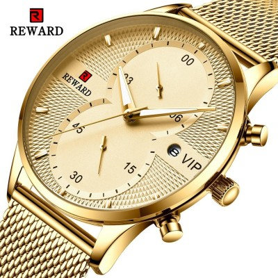 Reward Mesh Chain Chronograph Date Analog Quartz Water-Resistant Casual Business Party Wrist-Watch Top Brand Luxury Fashion Watch for Men
