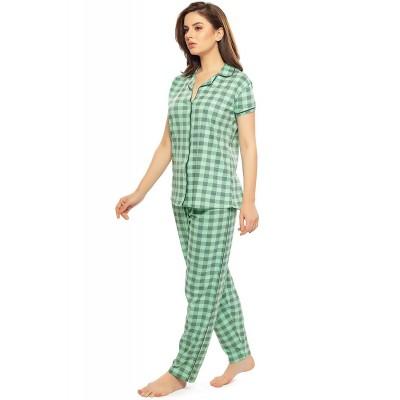 ZEYO Women's Cotton Flamingo Peach & Green Checks Printed Night Suit