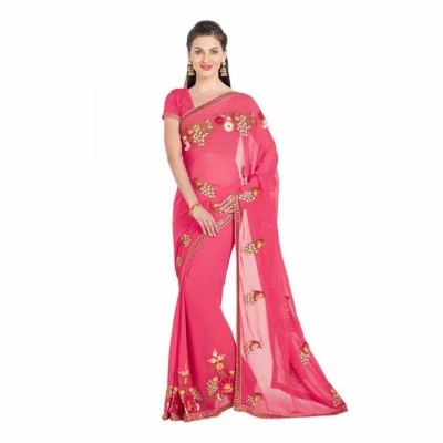 Pink/Golden Embroidered Chiffon Saree with Unstitched Blouse For Women