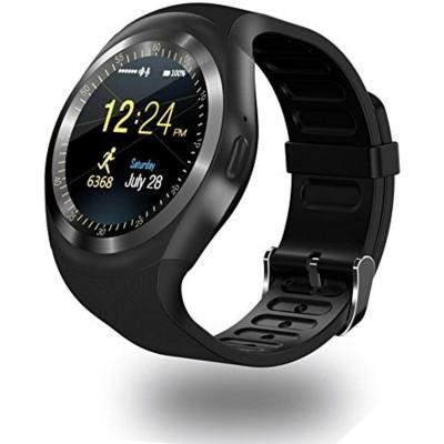 Bluetooth Round Touch Screen Smart Watch Y1 - (Black)